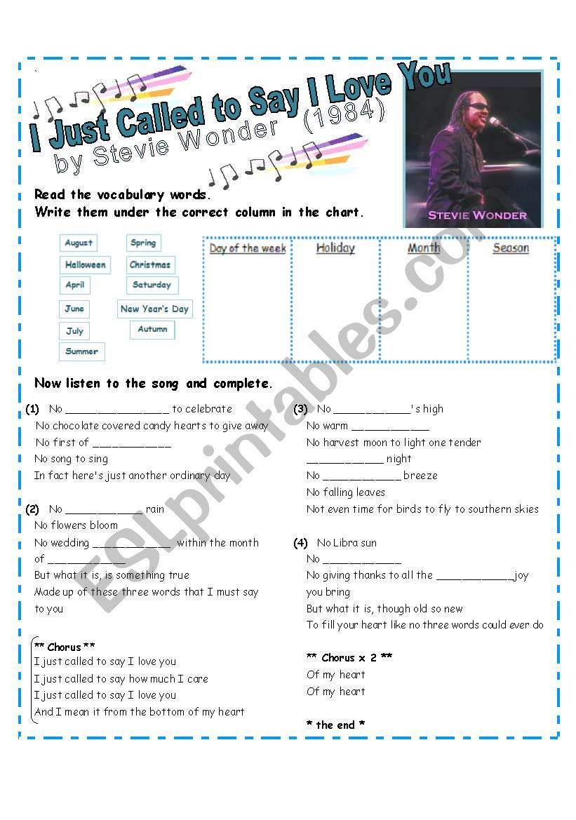 Practice Days, Months, Holidays & Seasons with SONG: I Just Called to Say I Love You by Stevie Wonder [3 pages w/ lyrics]